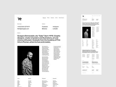 I Am Gabz – About & Contact illustrator portfolio uidesign minimalistic webdesign