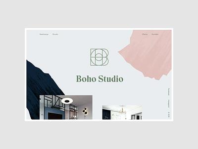 Boho Studio - Homeage logo branding interior design portfolio uidesign minimalistic webdesign