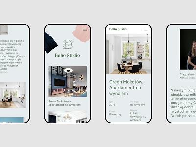 Boho Studio - Mobile interior design portfolio branding web uidesign minimalistic webdesign