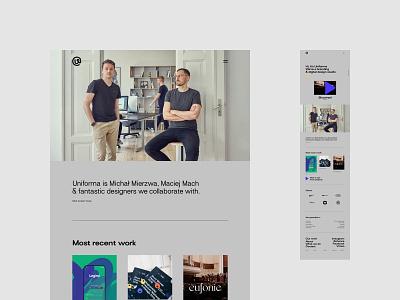 Uniforma Studio portfolio branding web uidesign minimalistic webdesign