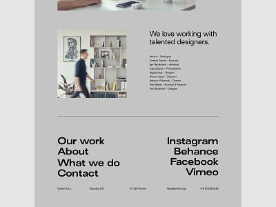 Uniforma Studio footer portfolio branding web uidesign minimalistic webdesign