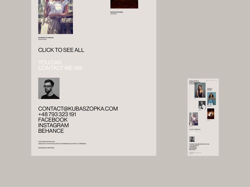 Kuba Szopka - portfolio typography cargocollective sketch photographer photos portfolio minimalistic webdesign uidesign