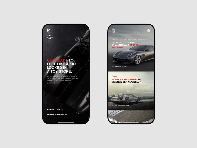 Prime Drivers Club V2 subscription design car premium typography uidesign minimalistic