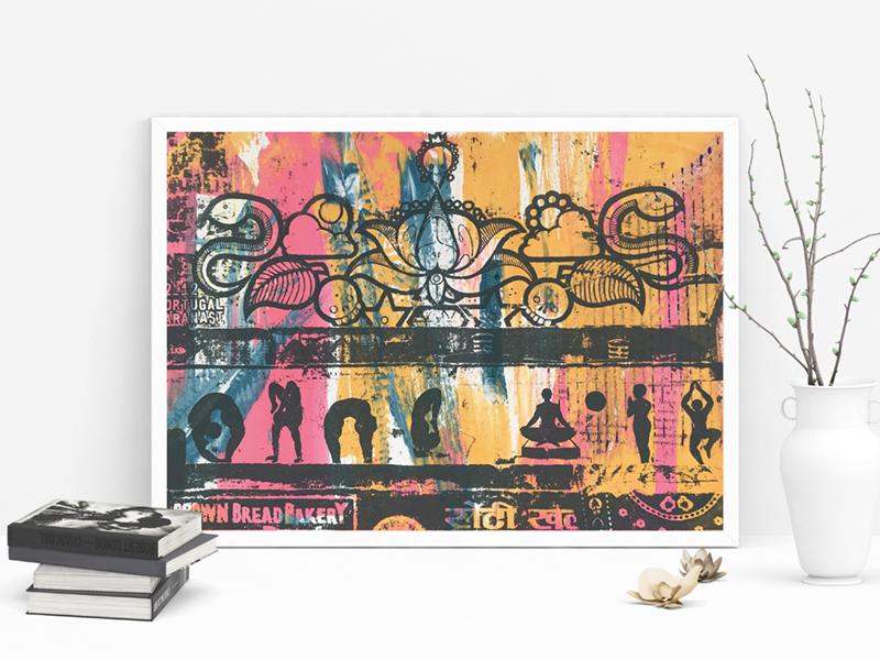 North India Screenprint orange colorful pink editorial asia travel street art screenprint illustration india silkscreen art