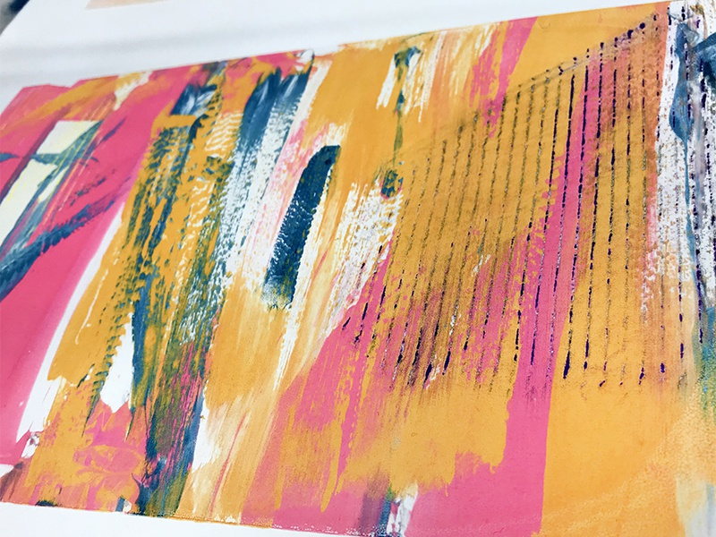 Textured Silkscreen Print art grunge orange pink bright acrylic screenprint silkscreen texture