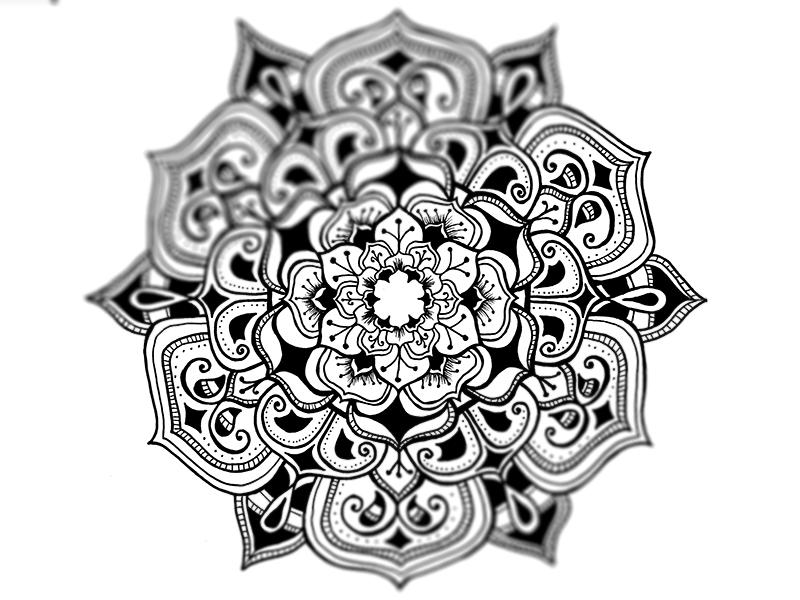 Mandala Illustration detail floral geometric pattern ink art white black mono mandala