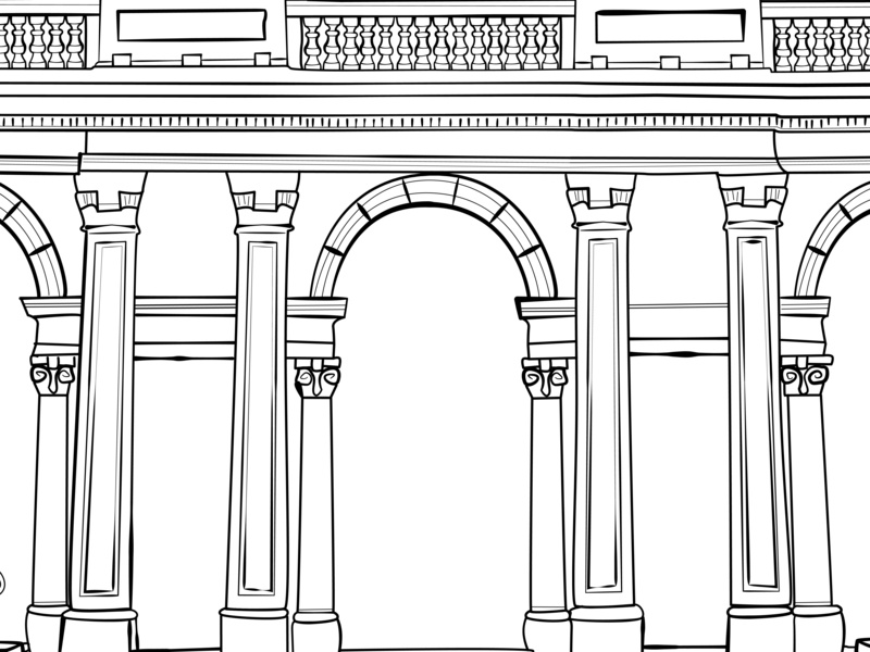 Travel illustration columns veranda bricks mono building travel architecture arches vector outline