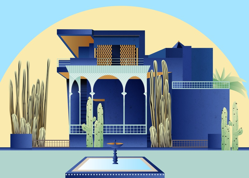 Jardin Majorelle Illustration marrakesh beautiful inspiration travelling design plants yellow green editorial digital art vector mansion blue gradients cactus garden architecture travel illustration
