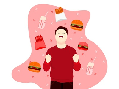 flat design of man is happy with junk food illustration app illustrator icon web vector ui flat design branding