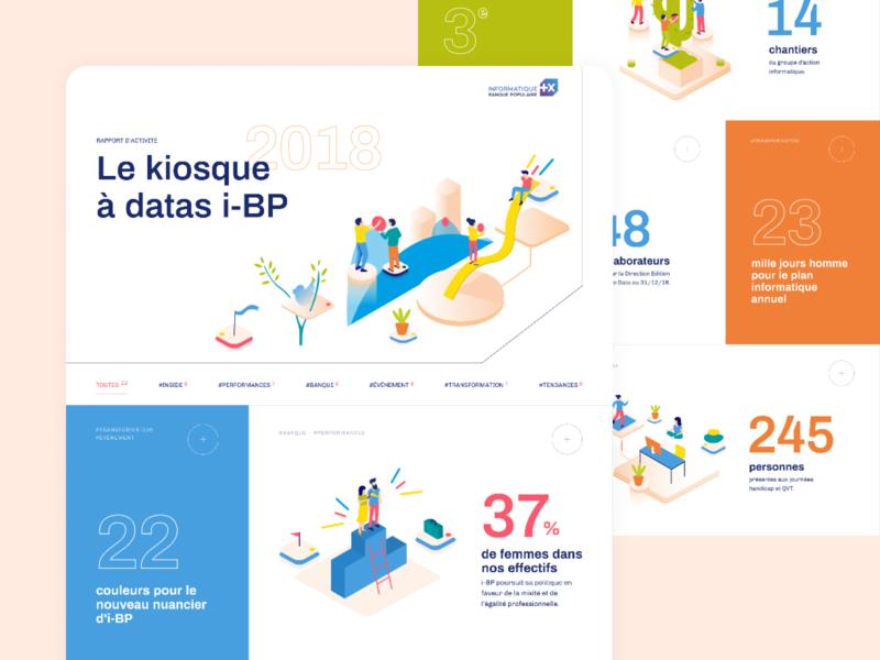 Annual report for IBP fun gradient website color web design vector illustration ui
