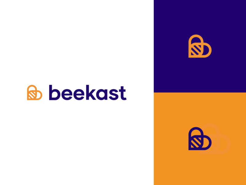 Branding for Beekast startup typography color icon flat logo branding vector