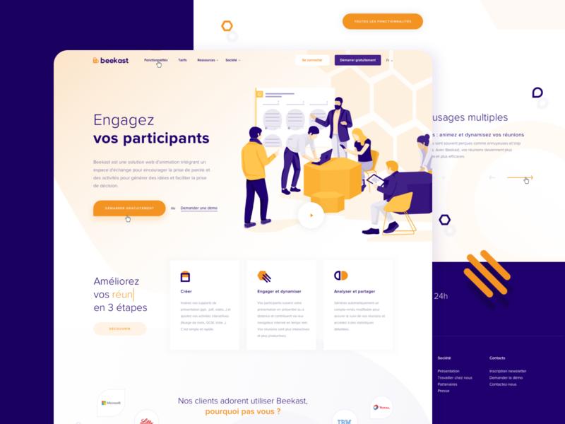Beekast - Homepage webdesign logo branding design website web ui illustration color vector