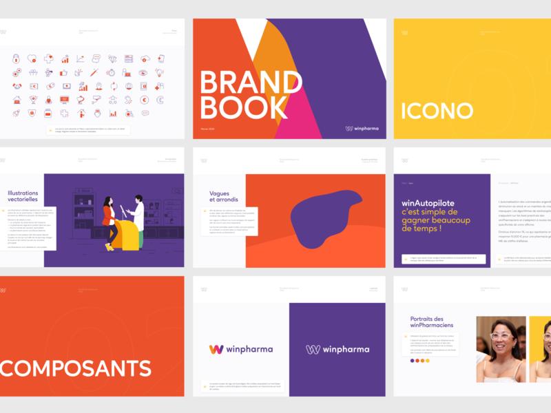 Branding & brand guidelines for Winpharma minimal vector fun icon design logo illustration flat branding color