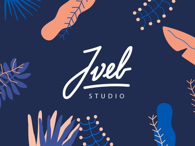 JVEB Studio branding typography design illustration logo nature color