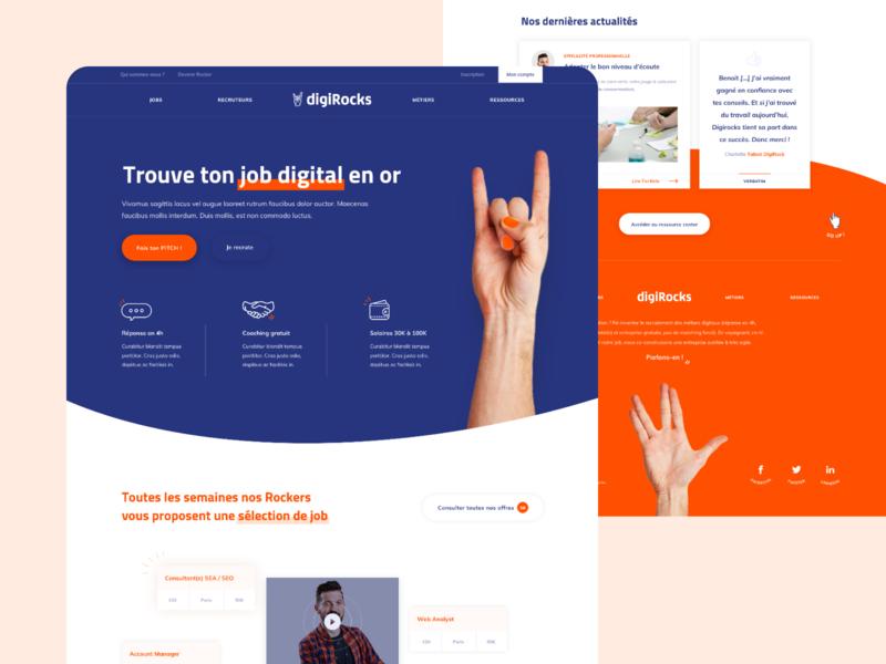 Digirocks homepage website vector flat web ux ui color logo branding