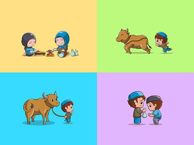 giving meal in Eid al-Adha vector icon illustration islam