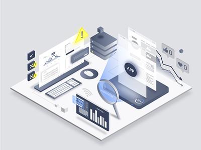 app design workflow scan scanning statistics isometric isometric illustration isometric art isometry app design ui illustration app