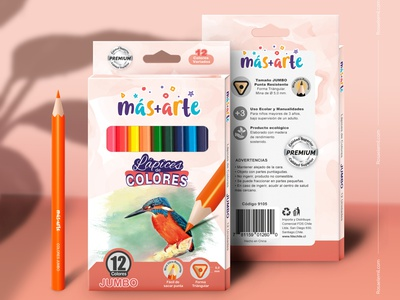 Packaging and Mockup - Colored Pencils colored pencils logo draw packaging design packaging package mockup design mockup branding graphic design