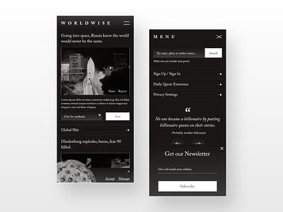 WorldWise Mobile UI newspaper news app news mobile website responsive mobile ui aesthetic web design digital landing page ui