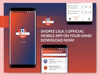 SHOPEE LIGA 1 OFFICIAL MOBILE APP BY YOSAFAT DHIMAS