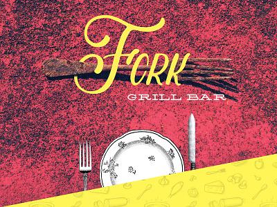 Fork Logo bar logo grill plate knife fork grunge