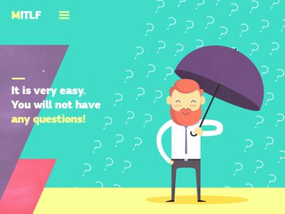 MITLF character umbrella rain question illustration flat