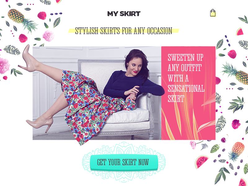 My Skirt floral fruits skirt web design landing page