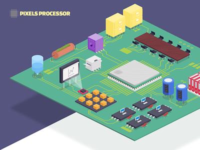 Pixels Processor illustration office processor motherboard