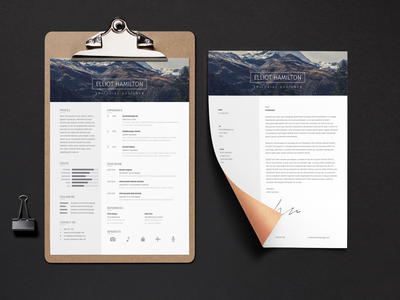 Page Resume Template + Cover Letter resume clean indesign resume template indesign template indesign resume design resume