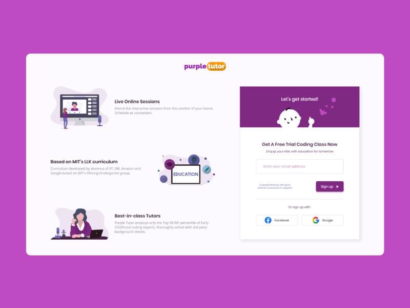 Sign Up Page live session children student webdesign adobe xd startup ux uiux ui design tutor sign up education