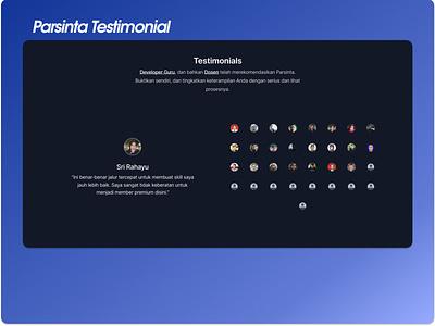 Parsinta Testimonials E2.1 testimonial page ux logo ui web design design parsinta