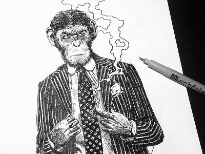 Business Monkey work in progress craft beer wip label beer business monkey pen micron illustration art