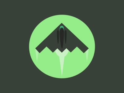 Stealth Bomber  plane green logo