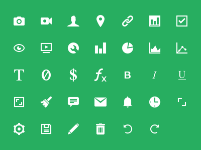 Icon Set message brush clock chart icons camera video person contact settings alarm comment