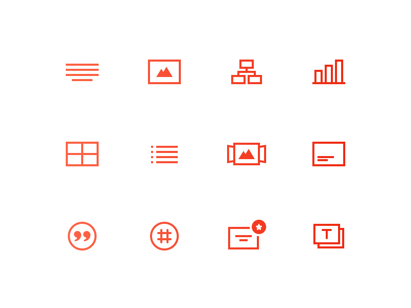 Free icons set freebie psd table chart stack list paragraph quotes hash image text icons