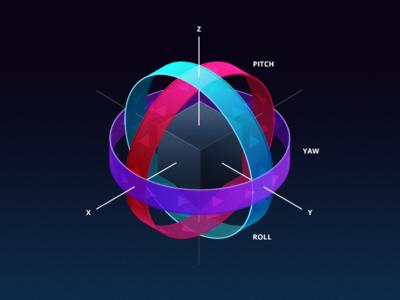 6D Rotation illustration graph cube sphere axis color 3d illustration