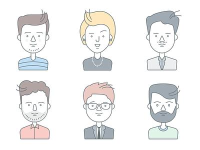 Character Design people avatars minimal female male illustration face character