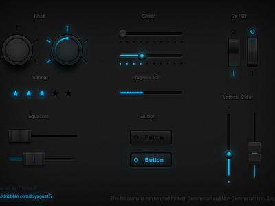 Tron UI Set freebies blue tron ui set ui design grab it knob button slider progress bar onoff switch