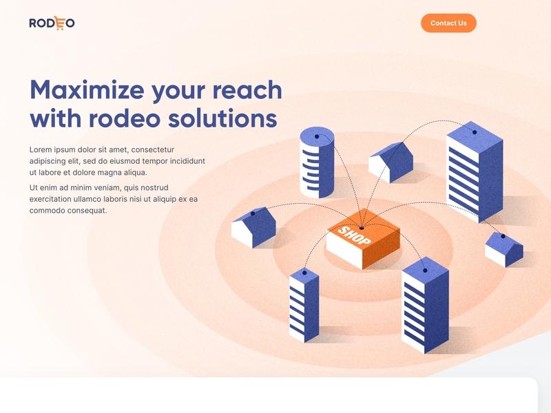 Landing page design illustration 3d concentric cart building purple isometric ecommerce homepage web design