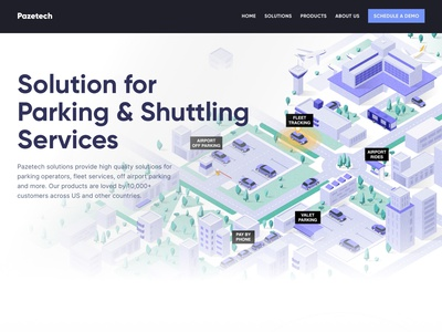 Home Page Design hero parking lot parking fleet airport building car illustraion isometric illustration isometric