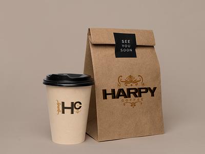 Harpy Coffee Packaging harpy coffee brand café paperbag coffee cup brown coffee coffee brand illustration logo branding design