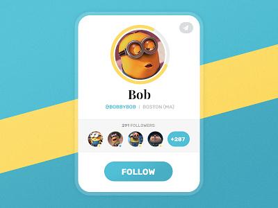 Daily UI #02 - User Widget daily ui ui daily ui player card user widget bob minions