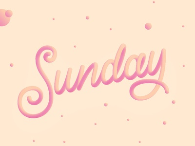 Lazy Sunday spline 3d gradient type letters calligraphy typography lettering