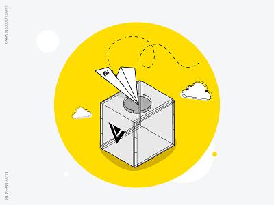 Direct Uploads To Veeva upload integration veer paper plane icon illustration flat isometric