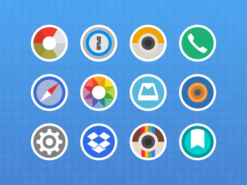 Round Sticker Icons blue ios design app icon icons circle round sticker