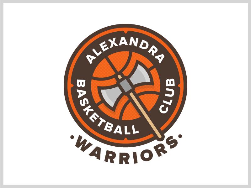 Alexandra Warriors Logo proxima nova lines brown orange shield axe basketball design logo