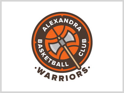 Alexandra Warriors Logo proxima nova lines brown orange shield axe basketball design logo