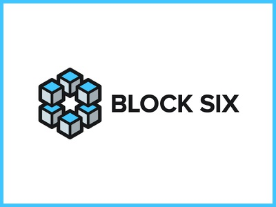 Block Six Logo six block 3d lines grey blue próxima nova cube design logo