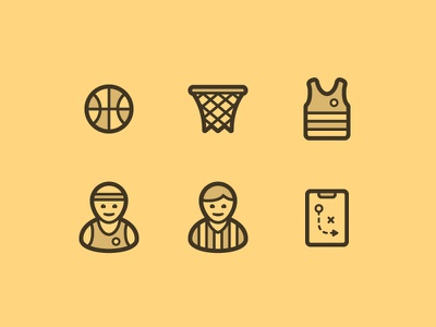 Basketball Icons yellow board referee player jersey net ball line design icon icons basketball