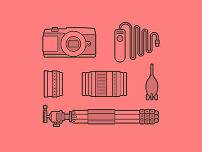 Camera Kit Icons remote shutter design red lines icons photography lens tripod camera